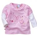 WWMY Sweet Hearts Pink Fake 2 Pcs Top 爱心假两件粉色上衣