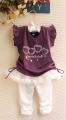 X.Y.F Beautiful and Happy Purple 2 Pcs Set 爱心小女生套装【紫色】(PRICE RED