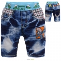DDF The Smurf Quarters Denim Pant 蓝精灵纯棉牛仔压皱中裤 (Design 2)