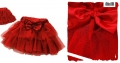 XTB Korea Red Ribbon Layers Cake Skirt 韩单大红色网纱蛋糕短裙