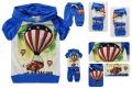 XTB Kids Hot Air Ballons Blue 2 Pcs Set外贸韩单彩蓝色热气球字母印花纯棉套装