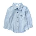 ZARA Blue Stripe LS Shirt 碎花贴布细条纹长袖衬衣