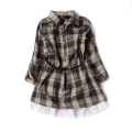 ZARA Brown Checker Dress with Belt 女童长袖衫裙衫皮腰带