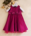 ZARA Elegant Purple Red Dress 蝴蝶结紫红绒裙