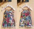 ZARA Floral Colourful Spagette Dress 绑腰带洋装