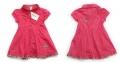 Zara Embroidery Butterfly Pink Dress 欧洲品牌女童绣花灯芯绒枚红色连衣裙