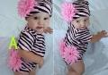 Zebra Pink Romper Set (romper+ hat) 法单花朵短袖哈衣帽子2件套