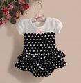 Zoe Flower White Polkadot Black Skirt Romper 小点点裙款哈衣【白黑]