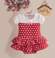 Zoe Flower White Polkadot Red Skirt Romper 小点点裙款哈衣【白红】