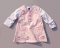 M&CO Embroidery Small Flowers Pink Overalls Dress Set 刺绣花朵粉色背带裙套