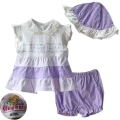 QM Purple Polkadots 3 Pcs Set 外单紫色点点三件套